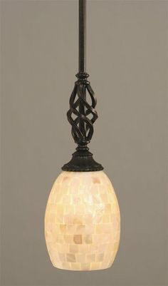 Dark Granite Finish Mini Pendant w Seashell Glass Toltec Lighting http://www.amazon.com/dp/B004ZVXE4O/ref=cm_sw_r_pi_dp_xCJItb12WD49AEZW
