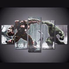 5 Piece Multi Panel Modern Home Decor Framed Hulk vs Hulkbuster Marvel Comics Wall Canvas Art - Octo Treasures - 1