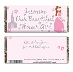 This pretty pink chocolate bar makes a great thank you gift for any wedding flower girl. The front of the bar can be personalised with your chosen name (up to 12 characters long) before the fixed wording Our Beautiful Flower Girl. The back of the label is also printed with your personal message.     This personalised chocolate bar measures 15 x 6.5 x 1cm, is made of Milk Chocolate and weights 100g. This personalised chocolate may contain traces of nuts.