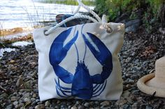 3238d9354 Canvas Tote Blue Lobster Hand Painted Rope by MaineUptownStudio, $60.00  Satchels, Drawstring Backpack,