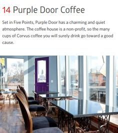 Purple Door Coffee, 2962 Welton St., Denver, CO 80205Purple Door Coffee https://www.purpledoorcoffee.com/ 2962 Welton St. Denver, CO ... Purple Door Coffee is a specialty espresso bar and coffee shop in Denver, Colorado that employs teens and young adults who have been homeless and want to leave homelessness behind