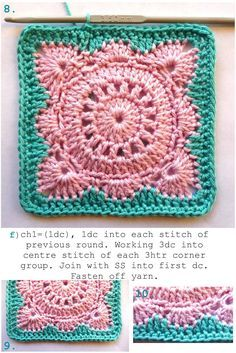 Crochet Square Pattern Annie's Place: Solid 'Willow' Crochet Block How-To Free Crochet Pattern Crochet Motifs, Granny Square Crochet Pattern, Crochet Blocks, Crochet Squares, Crochet Granny, Diy Crochet, Crochet Crafts, Crochet Stitches, Crochet Projects