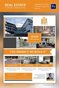 Free Real Estate Flyer PSD Template Free Flyers Pinterest Real - Free real estate brochure template