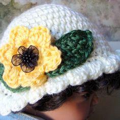 Baby Hat Crochet Sunflower Cloche Ruffle 3 - 6 mo Handmade