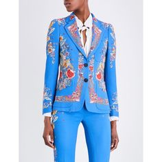 Roberto Cavalli Floral-print twill blazer ($1,345) ❤ liked on Polyvore featuring outerwear, jackets, blazers, floral print jacket, flower print blazer, long sleeve blazer, floral blazer and floral jacket
