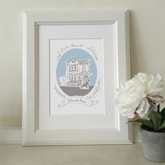 A hand illustrated image of your home, turned into a modern and fresh one-off print. House Illustration, Personalized Gifts, Handmade Gifts, How To Draw Hands, Palette, Portrait, Frame, Home Decor, Kid Craft Gifts