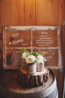 Rustic wedding vision: vintage windows used for bar menu signs at old barn wedding locale is my idea of perfection!