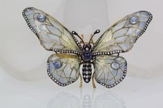 """c1880 --- EXQUISITE plique a jour butterfly brooch, with jewels in the 18K gold mount --- W 3-1/8"""" x 2-1/4"""" H (W,8.3 x H,5.7 cm) ----  seen on eBay in July, 2014, seller crisnotti, buy-it-now price of USD $10,500"""