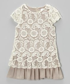 Ivory & Mocha Lace Dress - Toddler & Girls | Daily deals for moms, babies and kids