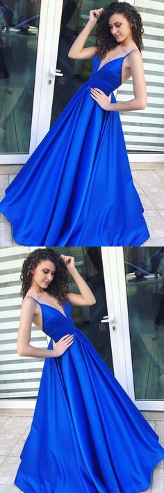 A-Line Spaghetti Straps Floor-Length Royal Blue Satin Prom Dress PG604 #aline #promdress #promgown #eveningdress #eveningown #partydress #pgmdress #satin #royalblue #formadress #fashion