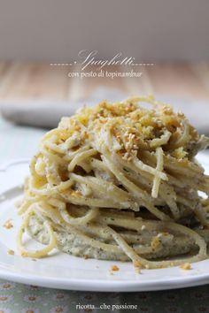 spaghetti con pesto di topinambur
