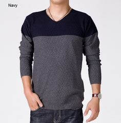 Mens V-Neck Sweater in Two Tone