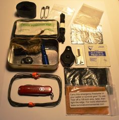 Altoid pocket tin survival kit with knife