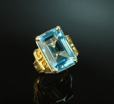 Blue topaz in sterling silver and gold ring Custom Jewelry Design, Blue Topaz, Sterling Silver Jewelry, Dan, Stones, Silver Rings, Rocks, Rock