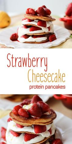 These decadent strawberry cheesecake stuffed layered protein pancakes are totally gluten free, low in fat and packed with high quality whey protein.