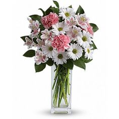 Pamper her with pale pink roses, pristine white daisies… and your thoughtfulness. A sweet, simple statement of your sincere love, this light, delicate #bouquet will make her smile. #Flowers #Delivery to #canada