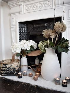 Hygge interior decor, winter styling candles, Scandinavian white design, cosy home, decor ideas and inspiration