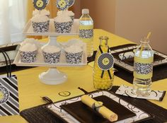 black and yellow bee party