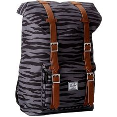 Herschel Supply Co. Little America Mid-Volume found on Polyvore featuring polyvore, fashion, bags, backpacks, zebra, black backpack, shoulder strap bag, laptop bag, shoulder strap backpack and herschel supply co backpack