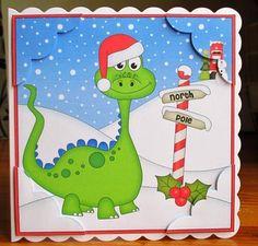 Card Gallery - 8 x 8 Christmas Denis Dinosaur Scalloped Corner Topper