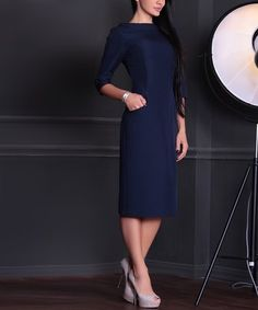 Look what I found on #zulily! Navy Side-Pocket Linen-Blend Sheath Dress - Plus Too #zulilyfinds
