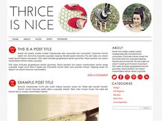 Self-Hosted Wordpress Premade Blog Theme: Thrice is Nice minimalist, red, chevron, striped, photo, photography, icons, template. $50.00, via Etsy.