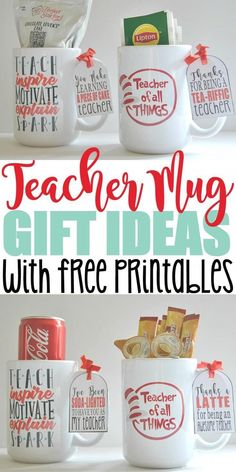 cool mugs Teachers deserve to be reminded of the positive impact they have on a child's life. That's why I decided to give our kid's teachers personalized mugs for teacher appreciation gifts Pun Gifts, Thank You Gifts, Gifts In A Mug, Gift Mugs, Boyfriend Food, Diy Gifts For Boyfriend, Ideas Hogar, Teacher Christmas Gifts, Christmas Diy