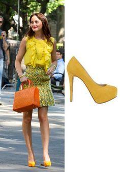 Leighton Meester Yellow Stiletto High Heels