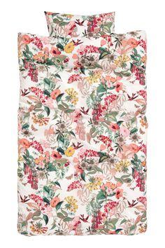 Blommönstrat påslakanset - Vit/Blommig - Home All | H&M SE 1