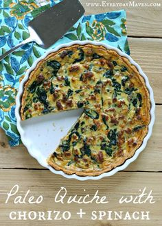 The Ultimate Paleo Quiche with Chorizo and Spinach. My goals for this Paleo quiche were to keep it Gluten Free, Grain Free and Dairy Free but truly mimic the taste and texture of a regular quiche. Dairy Free Quiche Recipes, Dairy Free Breakfasts, Spinach Recipes, Paleo Recipes, Real Food Recipes, Cooking Recipes, Paleo Food, Gluten Free Quiche, Egg Recipes