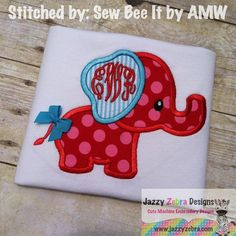 Elephant 34 Applique Design by JazzyZebraDesigns on Etsy
