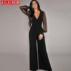 AILAIKE® Women's Jumpsuits Black Embellished Cuffs Long Mesh Sleeves Jumpsuit – USD $ 25.00