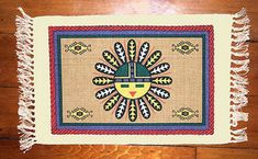 """Unique & Custom x Inch} Set Pack of 6 Rectangle """"Non-Slip Grip Texture"""" Large Table Placemat Made of Cotton w/ Native American Sun Face Fringed Design [Colorful Tan, Blue, Red & Yellow] Native American Flute, Native American Fashion, Southwest Home Decor, Placemat Design, Print Place, Navajo Style, Black Barn, Parking Design, Red Barns"""