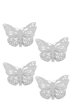 4 Mini pinces papillons blancs - Tati