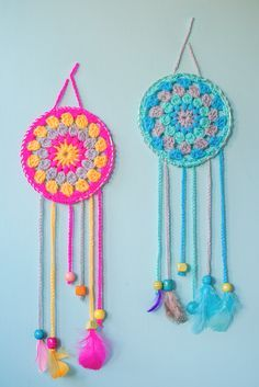 How To Make Dream Catchers,Great beginner project.These sassy and cute dream catchers are so easy to crochet.If you can crochet a granny square you'll have no problem making these.Choose delightful colors that pop so they're noticed when you enter the room.