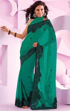 Picture of Wonderful Jade Green Chiffon Designer Saree