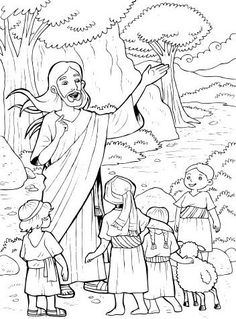Jesus with children Bible Coloring Pages, Coloring Pages For Kids, Sunday School Coloring Pages, Mountain Mural, Christian Crafts, Sunday School Crafts, Bible Crafts, A Christmas Story, Preschool