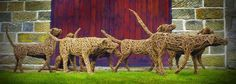 willow dog sculptures