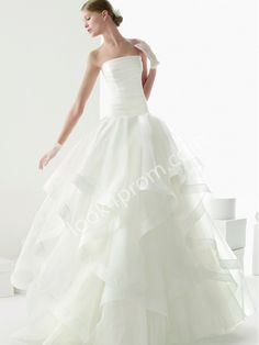 A-line Strapless Ruffles Wedding Dresses