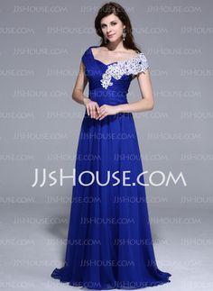 Evening Dresses - $146.99 - A-Line/Princess Off-the-Shoulder Sweep Train Chiffon Evening Dress With Beading Appliques (018025461) http://jjshouse.com/A-Line-Princess-Off-The-Shoulder-Sweep-Train-Chiffon-Evening-Dress-With-Beading-Appliques-018025461-g25461