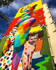 Okuda (2017) - Girona (Spain) Girona Spain, Okuda, Street Art Graffiti, Our World, All The Colors, Murals, Shapes, In This Moment, Artwork