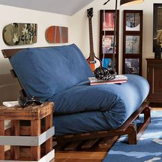 PB Teen Futon Slipcover, Washed Twill Navy, Full at Pottery Barn Teen... ($127) ❤ liked on Polyvore featuring home, furniture, sofas, navy, navy bed, pbteen beds, navy blue bed, rustic bed and navy sofa