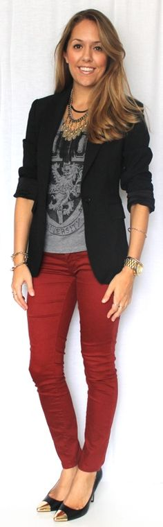 Business casual work outfit: black blazer, grey tee, red skinnies, black heels. Can definitely recreate this with vintage CAbi.