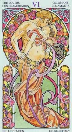 The lovers - Tarot card - Art Nouveau