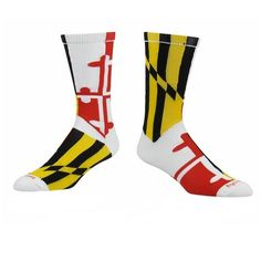 Maryland Flag Crew Socks (White, Small)