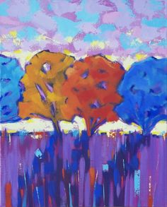 New Blood Art | Four Trees Sunset by David Brett | Buy Affordable and Original Art Online | Quality and Contemporary Artworks by Emerging Artists for Sale