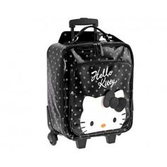 Trolley cabina semirígida en topos negra de Hello Kitty by Camomilla