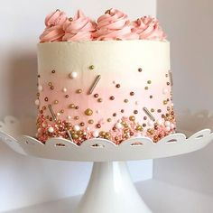 Beautiful pastel by featuring fun by the - Babyshower Pink Cake Ideen Pretty Cakes, Cute Cakes, Beautiful Cakes, Amazing Cakes, Beautiful Beautiful, Fancy Cakes, Beautiful Pictures, Bolo Tumblr, Pastel Cakes