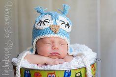 Baby Boy Sleepy Owl Earflap Hat   newborn to 3 months by Emerald69, $24.00
