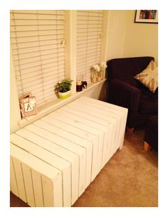 Window seat storage bench. This gorgeous bench (if I do say so myself) is made completely out of pallets. I hope this picture sparks some DIY projects for you